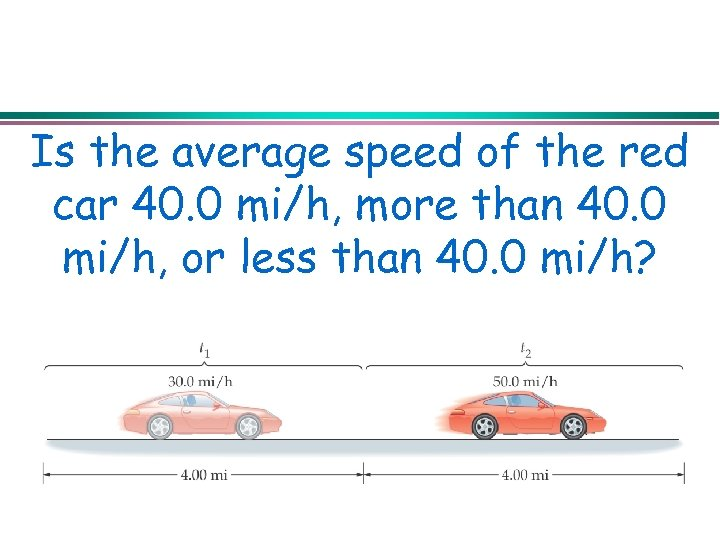 Is the average speed of the red car 40. 0 mi/h, more than 40.