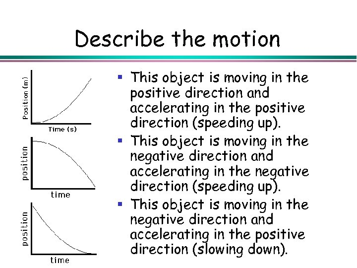 Describe the motion § This object is moving in the positive direction and accelerating