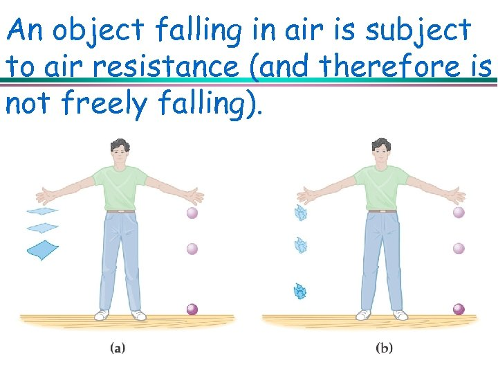 An object falling in air is subject to air resistance (and therefore is not