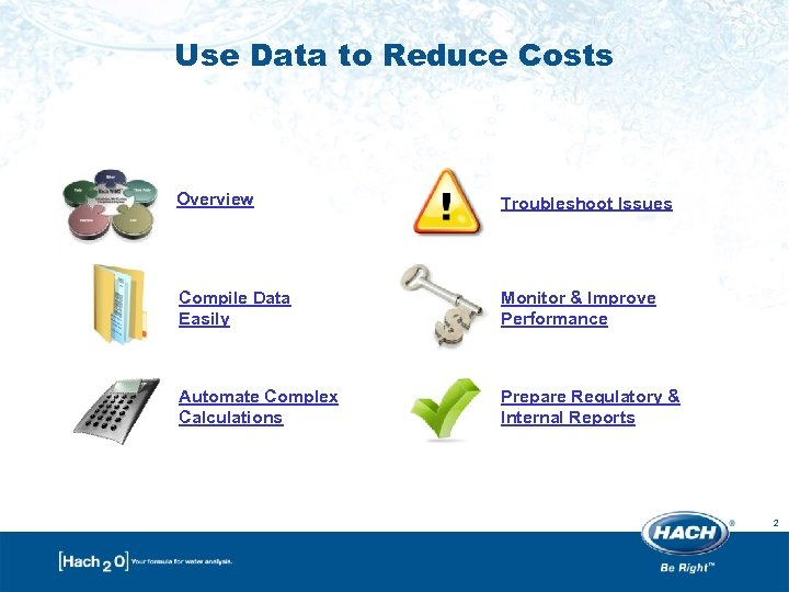 Use Data to Reduce Costs Overview Troubleshoot Issues Compile Data Easily Monitor & Improve