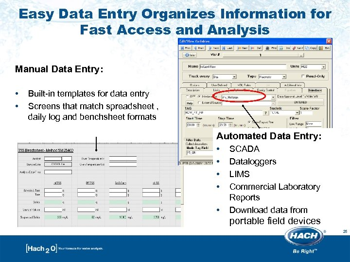 Easy Data Entry Organizes Information for Fast Access and Analysis Manual Data Entry: •