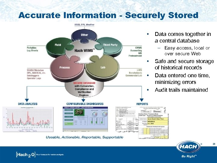 Accurate Information - Securely Stored • Data comes together in a central database –