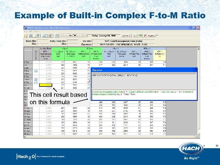 Example of Built-in Complex F-to-M Ratio This cell result based on this formula 30