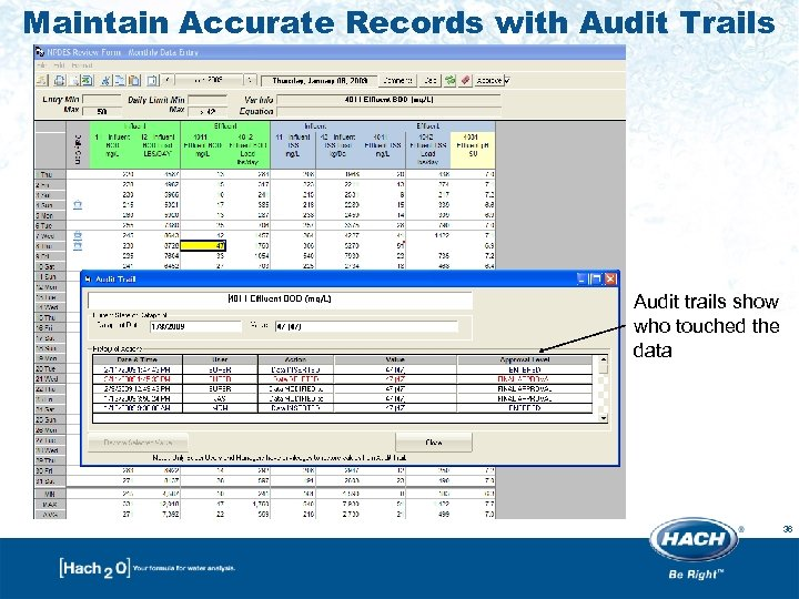 Maintain Accurate Records with Audit Trails Audit trails show who touched the data 36