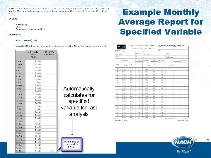 Example Monthly Average Report for Specified Variable Automatically calculates for specified variable for fast