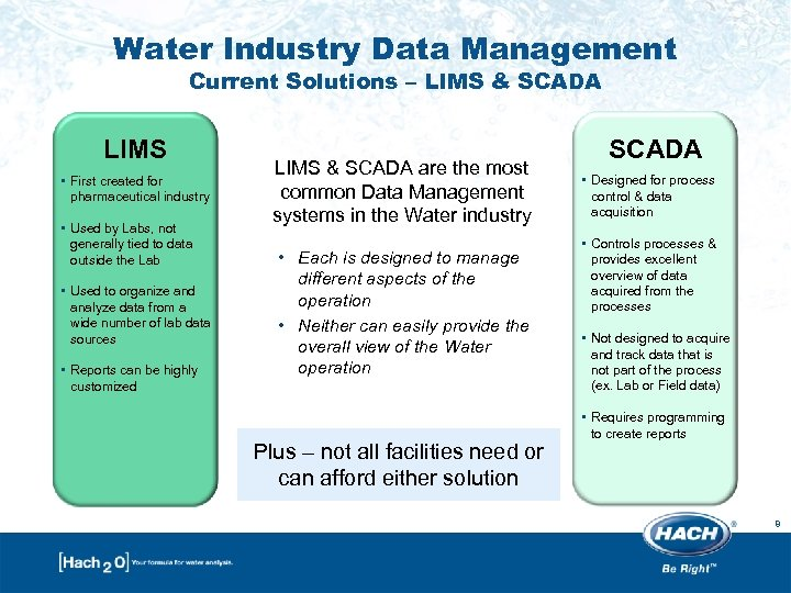 Water Industry Data Management Current Solutions – LIMS & SCADA LIMS • First created