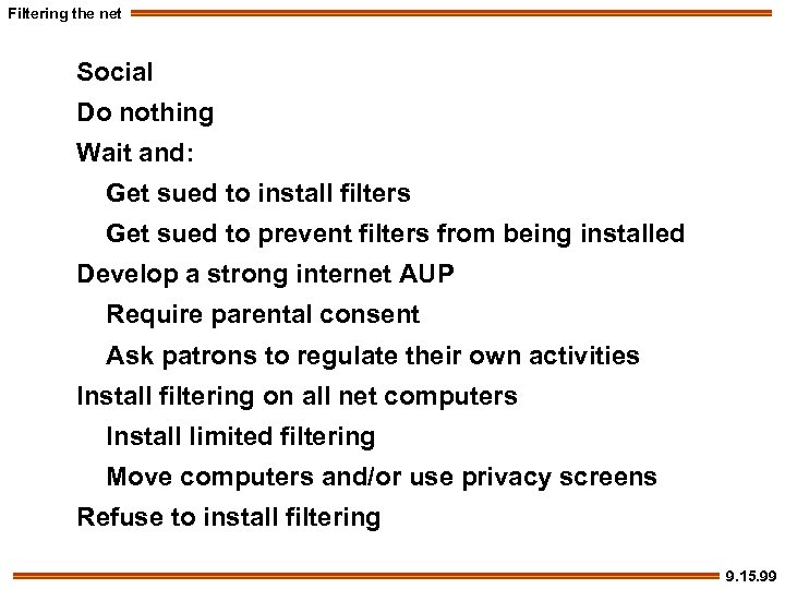 Filtering the net Social Do nothing Wait and: Get sued to install filters Get