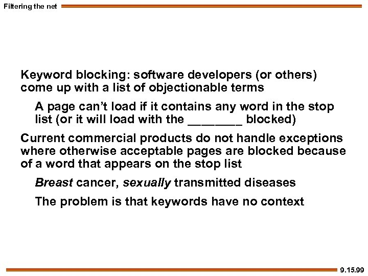 Filtering the net Keyword blocking: software developers (or others) come up with a list