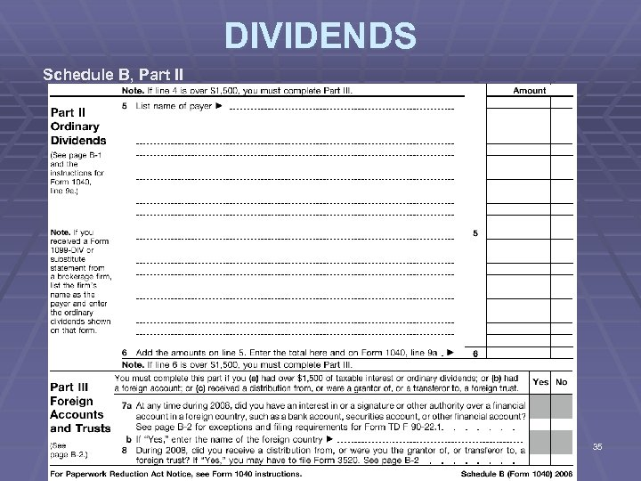 DIVIDENDS Schedule B, Part II 35