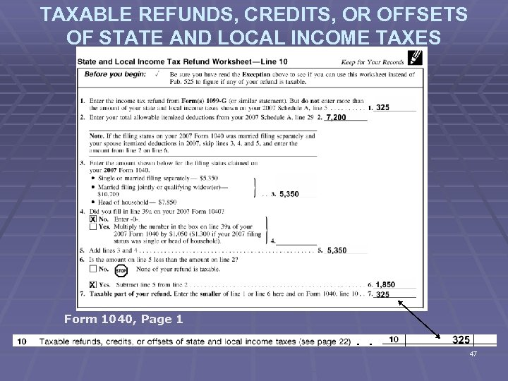 TAXABLE REFUNDS, CREDITS, OR OFFSETS OF STATE AND LOCAL INCOME TAXES Form 1040, Page