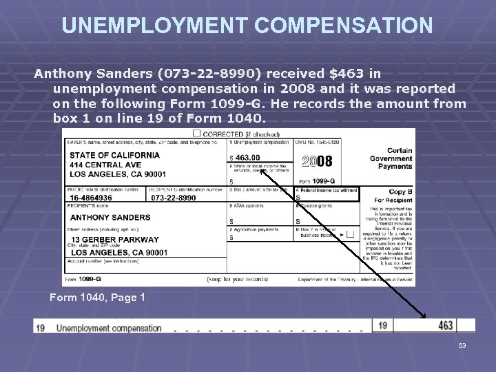 UNEMPLOYMENT COMPENSATION Anthony Sanders (073 -22 -8990) received $463 in unemployment compensation in 2008