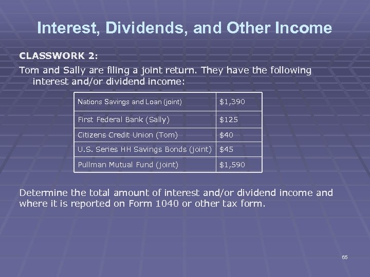 Interest, Dividends, and Other Income CLASSWORK 2: Tom and Sally are filing a joint