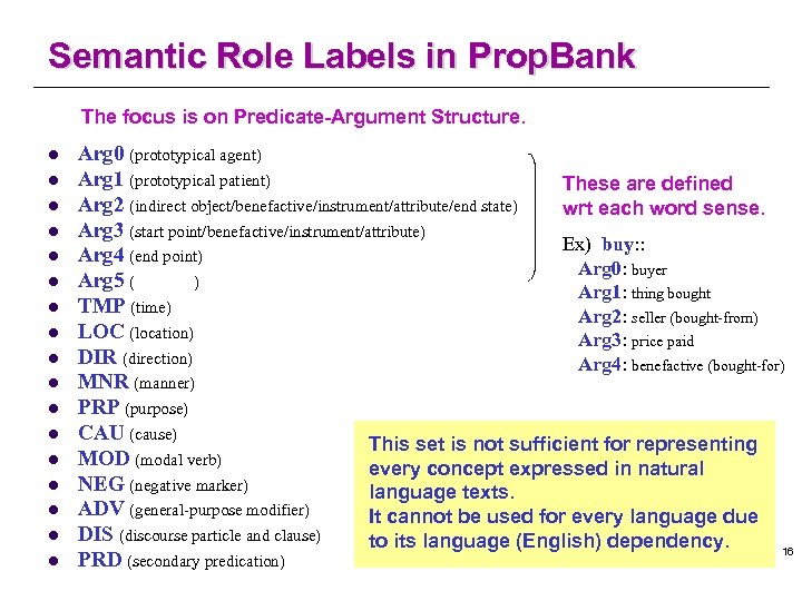 Semantic Role Labels in Prop. Bank The focus is on Predicate-Argument Structure. l l