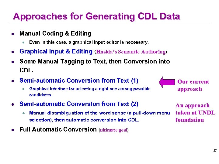 Approaches for Generating CDL Data l Manual Coding & Editing l Even in this