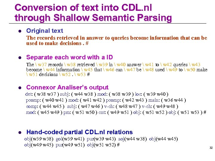 Conversion of text into CDL. nl through Shallow Semantic Parsing l Original text The