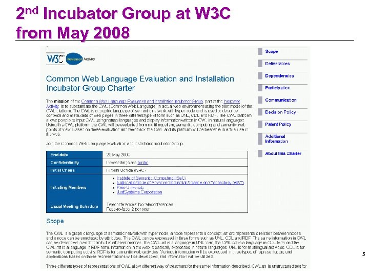 2 nd Incubator Group at W 3 C from May 2008 5