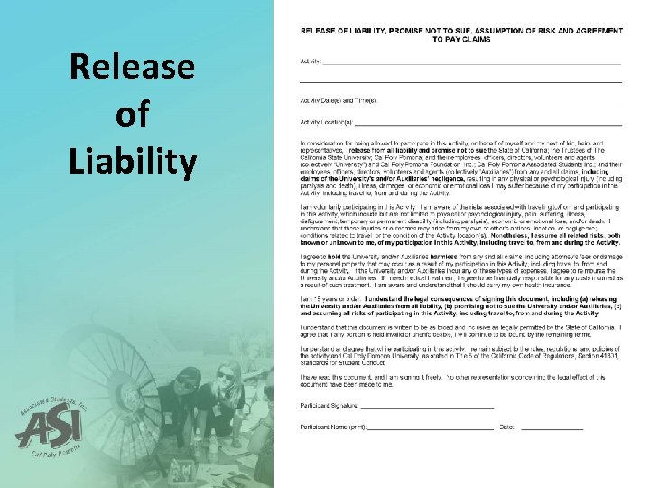Release of Liability