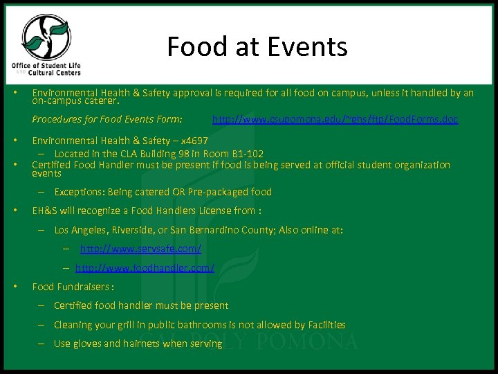 Food at Events • Environmental Health & Safety approval is required for all food