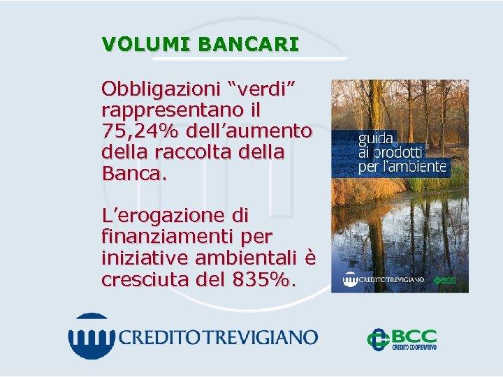 """VOLUMI BANCARI Obbligazioni """"verdi"""" rappresentano il 75, 24% dell'aumento della raccolta della Banca. L'erogazione"""