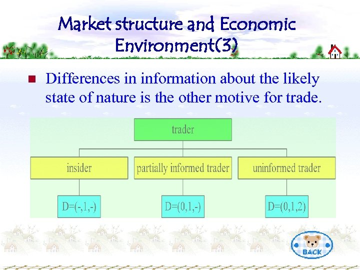 Market structure and Economic Environment(3) n Differences in information about the likely state of