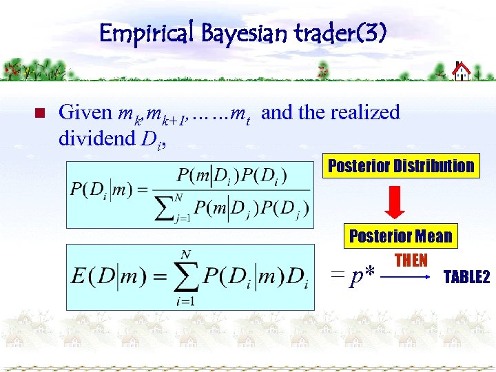Empirical Bayesian trader(3) n Given mk, mk+1, ……mt and the realized dividend Di, Posterior