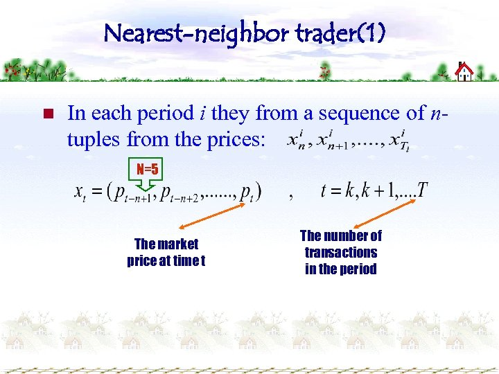 Nearest-neighbor trader(1) n In each period i they from a sequence of ntuples from