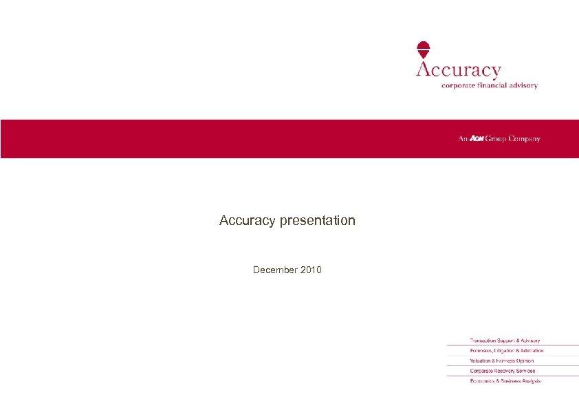 Accuracy presentation December 2010