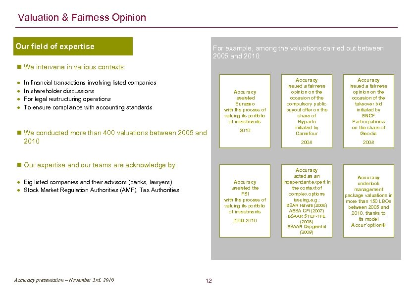Valuation & Fairness Opinion Our field of expertise For example, among the valuations