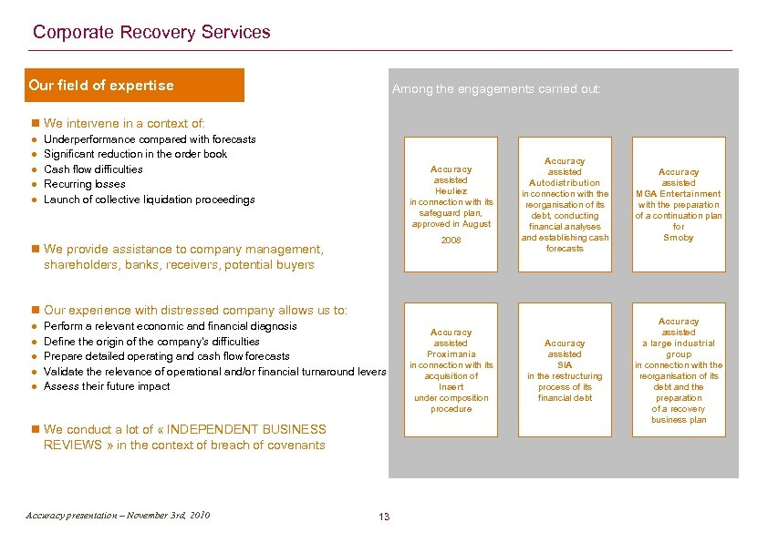 Corporate Recovery Services Our field of expertise Among the engagements carried out: We