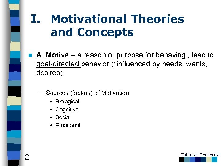 I. Motivational Theories and Concepts n A. Motive – a reason or purpose for