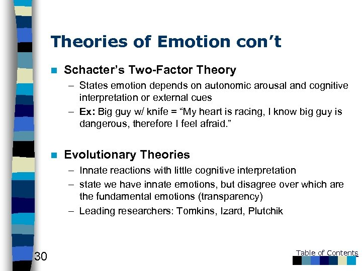 Theories of Emotion con't n Schacter's Two-Factor Theory – States emotion depends on autonomic