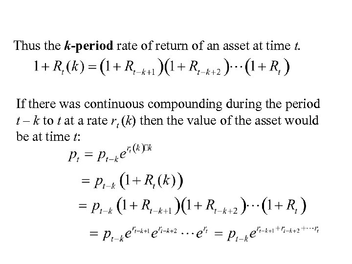 Thus the k-period rate of return of an asset at time t. If there