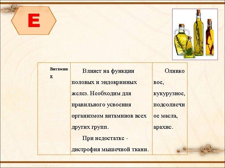 E Витамин Е Влияет на функции Оливко половых и эндокринных вое, желез. Необходим для