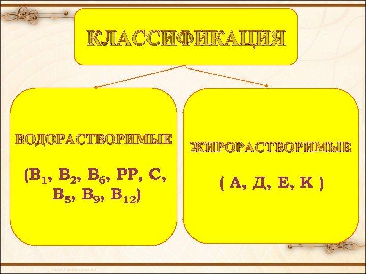 КЛАССИФИКАЦИЯ ВОДОРАСТВОРИМЫЕ (В 1, В 2, В 6, РР, С, В 5, В 9,