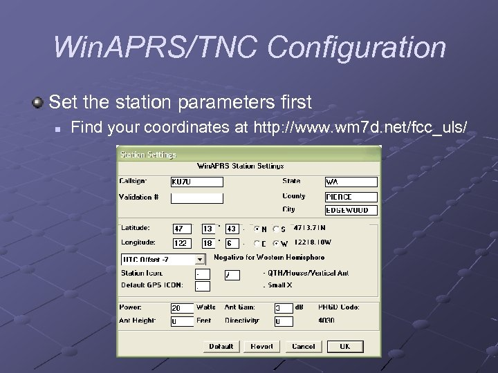 Demonstration Win APRS Running with TNC Welcome