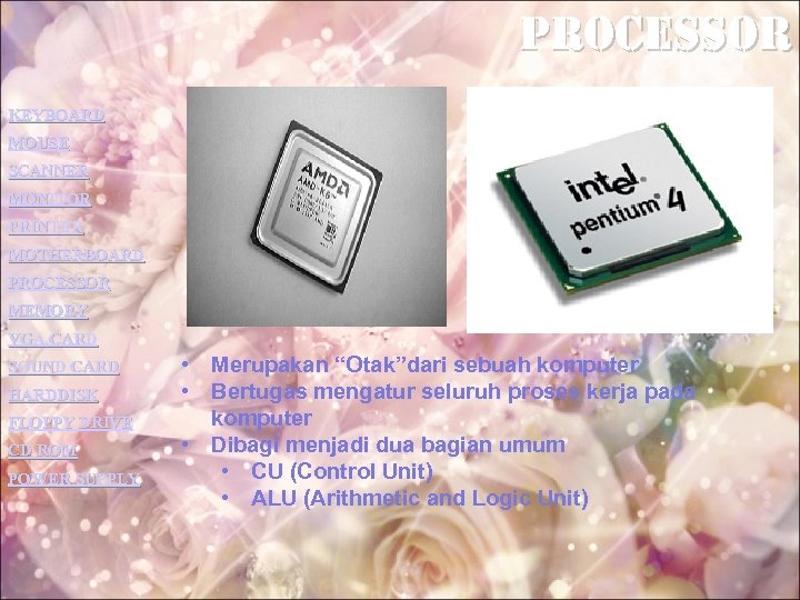 processor KEYBOARD MOUSE SCANNER MONITOR PRINTER MOTHERBOARD PROCESSOR MEMORY VGA CARD SOUND CARD HARDDISK