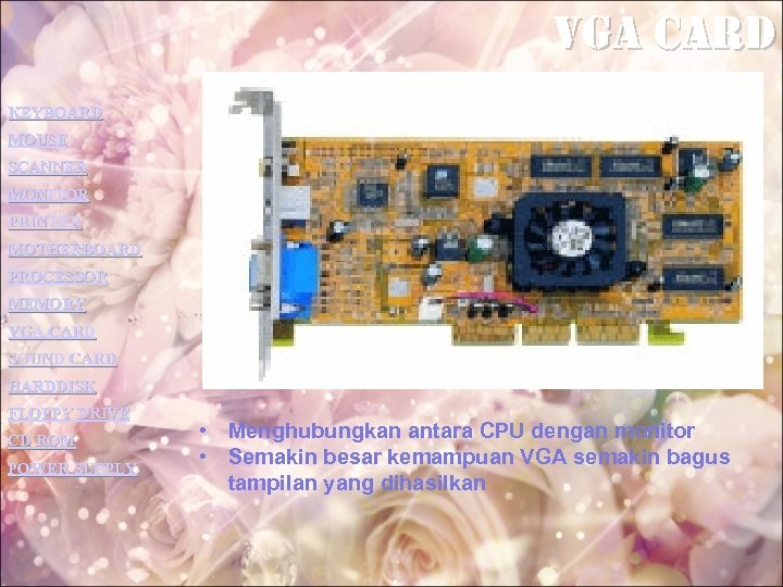 vga card KEYBOARD MOUSE SCANNER MONITOR PRINTER MOTHERBOARD PROCESSOR MEMORY VGA CARD SOUND CARD