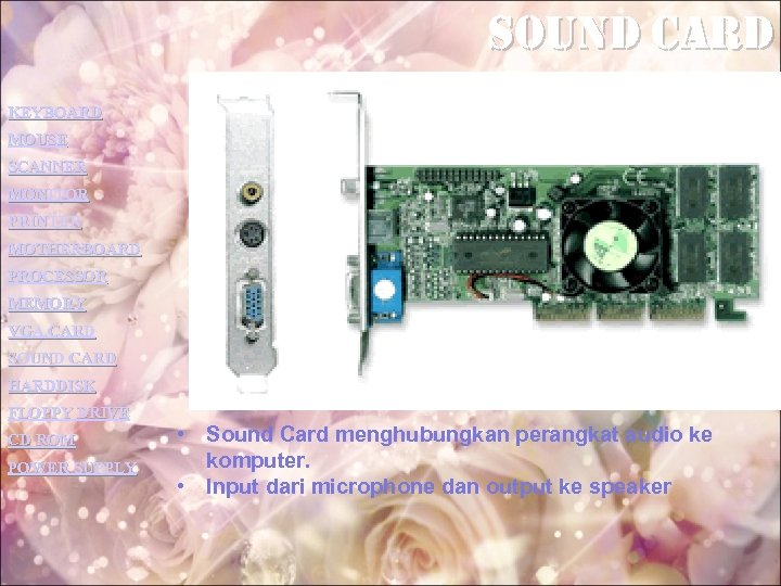 sound card KEYBOARD MOUSE SCANNER MONITOR PRINTER MOTHERBOARD PROCESSOR MEMORY VGA CARD SOUND CARD