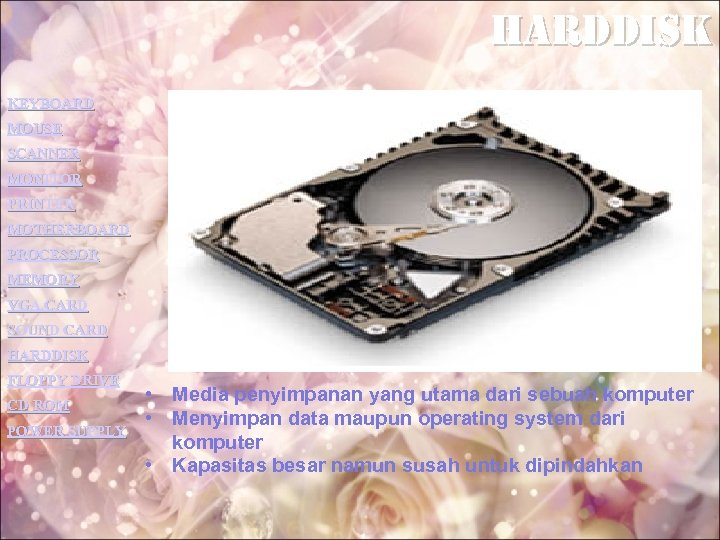 harddisk KEYBOARD MOUSE SCANNER MONITOR PRINTER MOTHERBOARD PROCESSOR MEMORY VGA CARD SOUND CARD HARDDISK