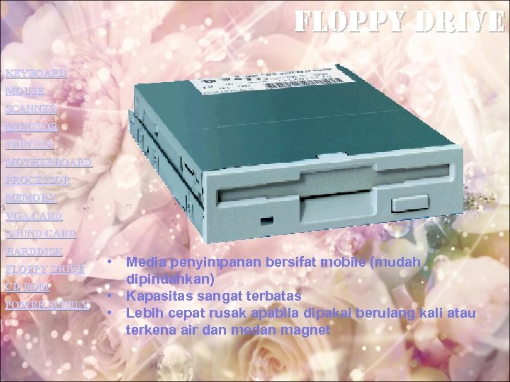 Floppy drive KEYBOARD MOUSE SCANNER MONITOR PRINTER MOTHERBOARD PROCESSOR MEMORY VGA CARD SOUND CARD