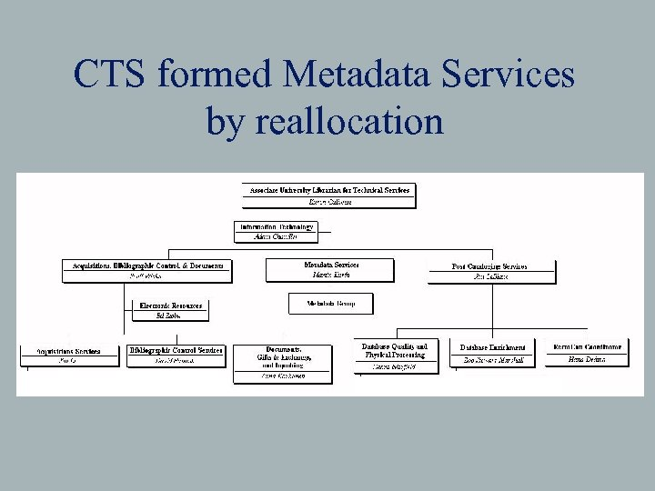 CTS formed Metadata Services by reallocation