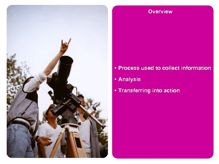 Overview • Process used to collect information • Analysis • Transferring into action