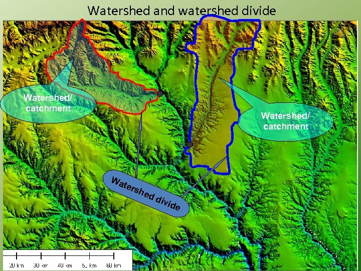 Watershed and watershed divide Watershed/ catchment Wa ters hed div ide