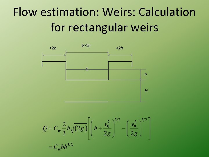 Flow estimation: Weirs: Calculation for rectangular weirs >2 h b>3 h >2 h h