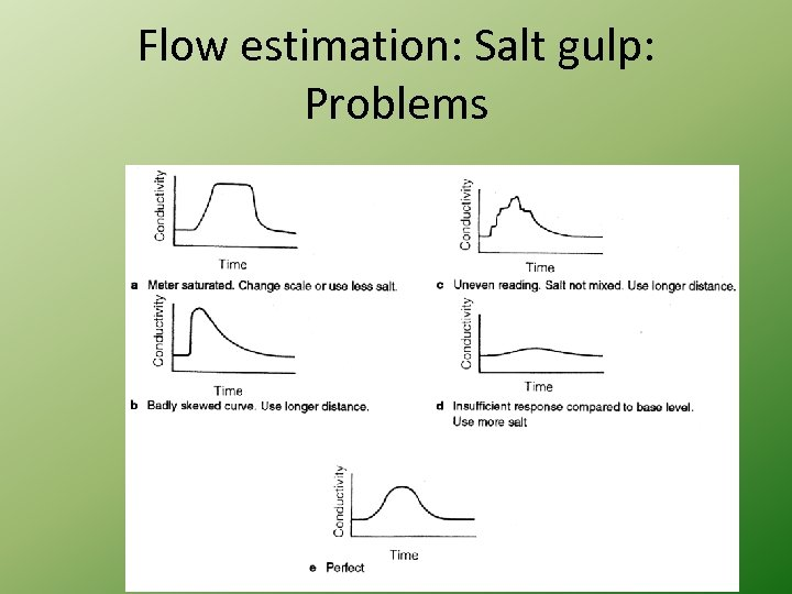 Flow estimation: Salt gulp: Problems
