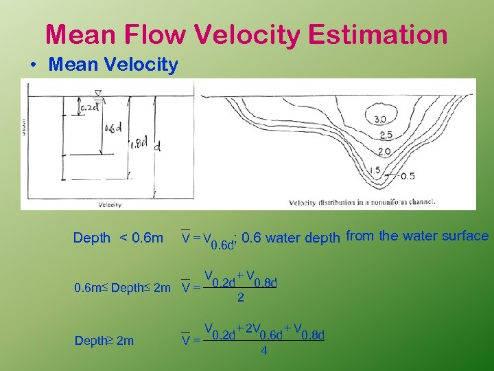 Mean Flow Velocity Estimation • Mean Velocity Depth < 0. 6 m V=V ;
