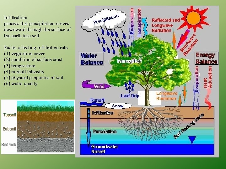 Infiltration: process that precipitation moves downward through the surface of the earth into soil.
