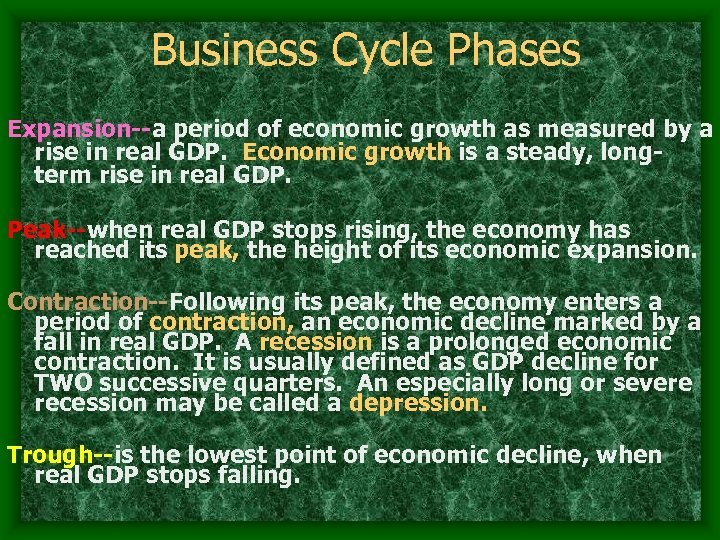 Business Cycle Phases Expansion--a period of economic growth as measured by a rise in