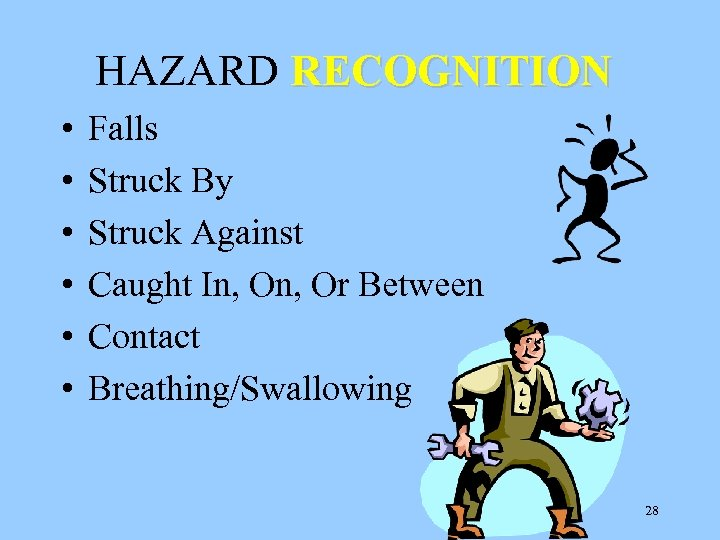 HAZARD RECOGNITION • • • Falls Struck By Struck Against Caught In, Or Between