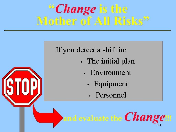 """Change is the Mother of All Risks"" If you detect a shift in: •"